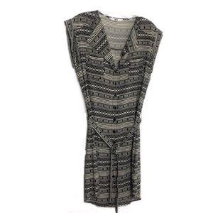 Jack Cream and Black Tribal Print Button Dress M